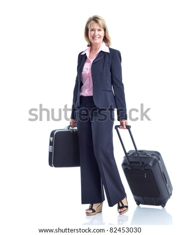 Smiling business woman with suitcase. Isolated over white background