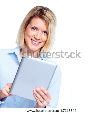 Smiling business woman with tablet computer. Isolated over white background
