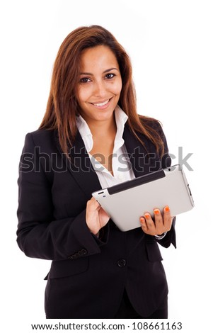 Smiling business woman with tablet. Isolated on white background.