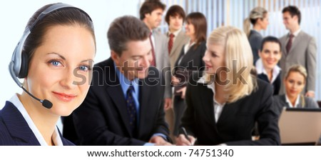 Smiling business woman working in the office