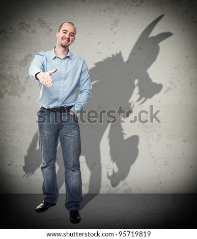 smiling businessman and wolf shadow