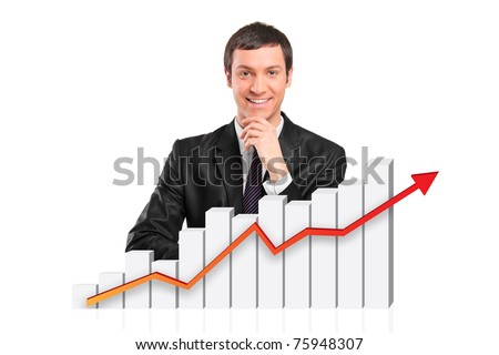 Smiling businessman behind a 3d rendered financial graph isolated against white background