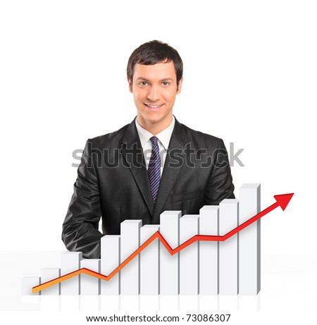Smiling businessman behind a 3d rendered financial graph isolated on white background