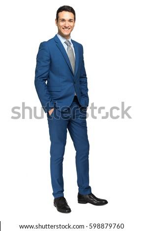 Smiling businessman full length portrait #598879760