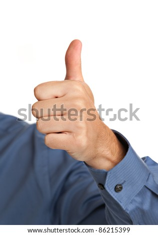 Smiling Businessman Pointing Finger on Isolated Background