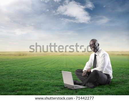 Smiling businessman using a laptop on a green meadow