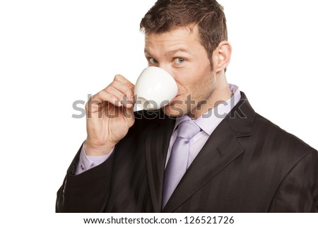 Smiling Businessman with Coffee Cup on White Background