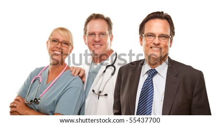 Smiling Businessman with Male and Female Doctor or Nurse Isolated on a White Background.