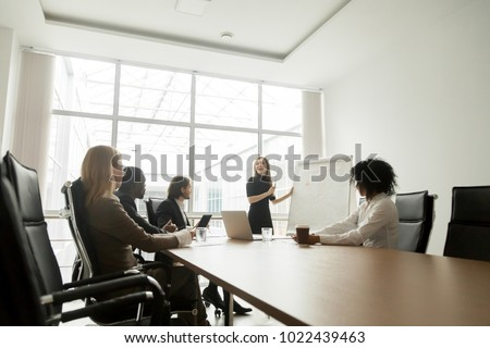 Smiling businesswoman giving presentation to diverse partners in meeting room, positive business coach explaining new project to multiracial group, team leader presenting marketing plan on whiteboard