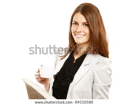 Smiling businesswoman having coffee break isolated on white background