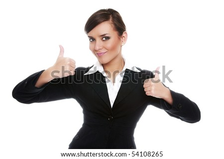 Smiling businesswoman showing ok on white background