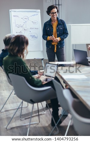 Smiling businesswoman standing in front of flip chart for presentation with team. Woman giving presentation on sales strategies to colleagues in board room.