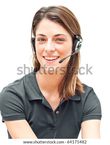 Smiling call center operator isolated on white