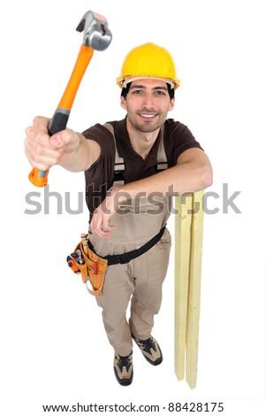 Smiling carpenter - stock photo