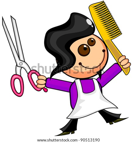 Smiling cartoon barber with scissors and comb