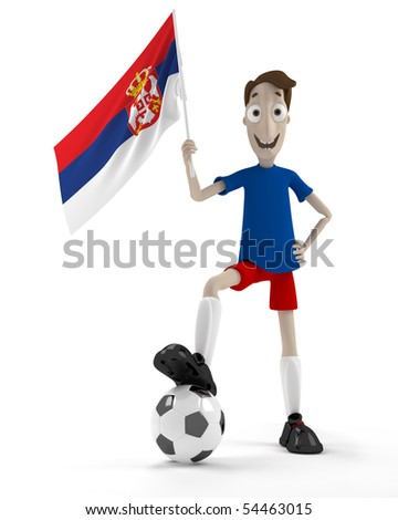 Smiling cartoon style soccer player with ball and Serbia flag