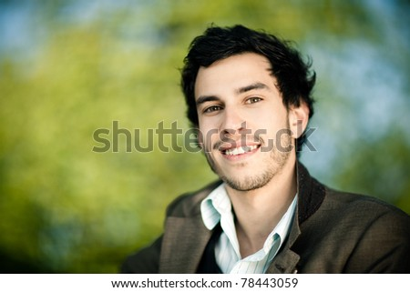 smiling caucasian man outside
