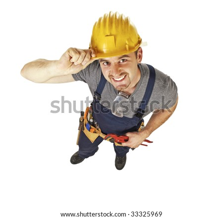 smiling caucasian young manual worker view from above isolated on white