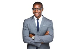 Smiling cheerful isolated portrait of african american business man in stylish suit and glasses