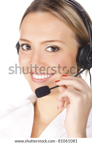 smiling cheerful support phone operator in headset, isolated on white background