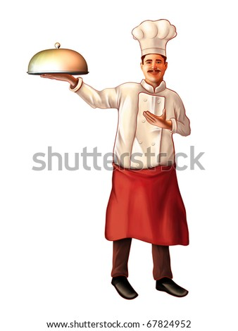 Smiling chef carrying a plate. Digital illustration, clipping path included.