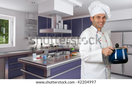Smiling chef in a modern red kitchen