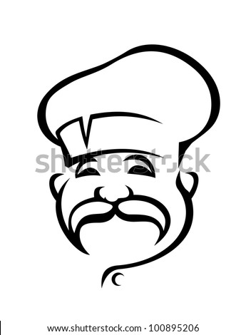 Smiling chef in hat, such logo. Vector version also available in gallery