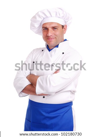 Smiling chef isolated on white background
