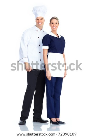 Smiling chef man and a waitress woman. Isolated over white background