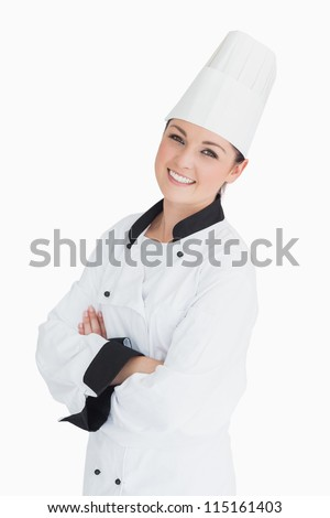 Smiling chef on white background
