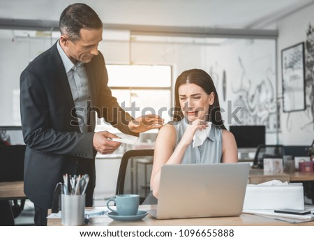 Smiling chef trying to calm crying girl. He giving her handkerchief. Good leader and unhappy subordinate concept