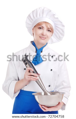 Smiling chef with bowl and mixer in her hands