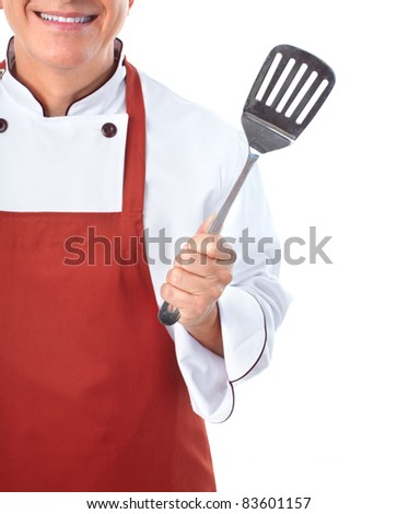 Smiling chef with .  Isolated over white background. Gourmet.