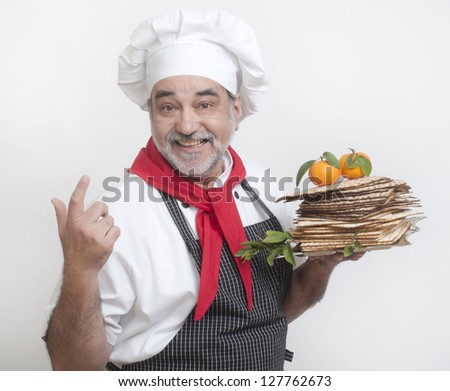 smiling chef with matzot