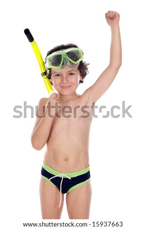 Smiling child with diving mask a over white background
