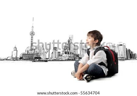 Smiling child with rucksack sitting with cityscape on the background