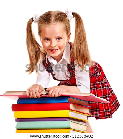 Smiling child with stack book. Isolated.