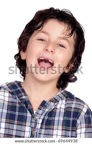 Smiling child without teeth isolated on white background