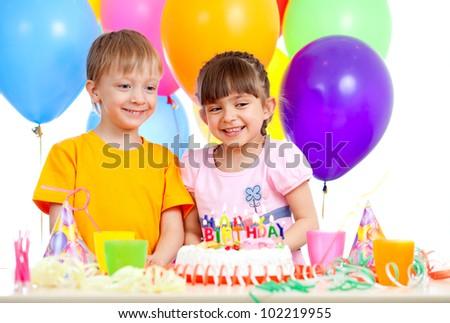 smiling children celebrating birthday party