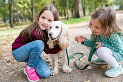 Smiling children girls hugging  their dog outdoor. Portrait of siblings with puppy on walk in warm autumn day. Pets and kids companionship concept