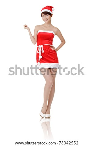 Smiling Christmas lady of Asian, full length portrait isolated on white background.