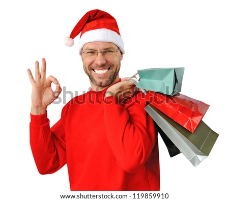 Smiling christmas man wearing a santa hat isolated on the white background