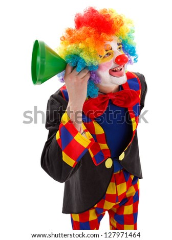Smiling clown listening for news with a green funnel