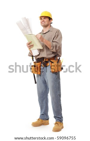 Smiling construction worker writing notes