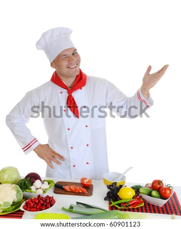 Smiling cook at restaurant. Isolated on white background