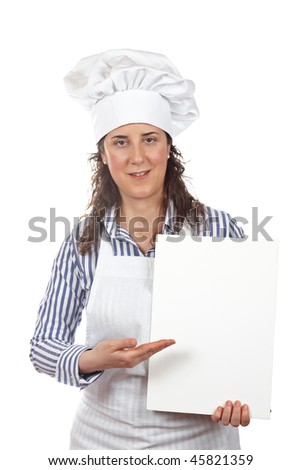 Smiling cook woman holding a white card isolated on white background