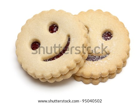 smiling cookies isolated on white