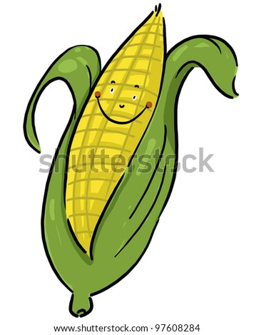 Smiling corn illustration; Smiling corn cartoon; Isolated ear of corn freehand drawing