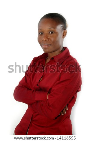 smiling corporate female sitting on a stool