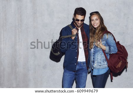 Smiling couple in denim and jeans, portrait